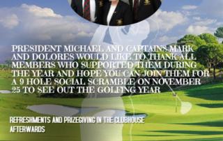 Captain's Drive Out next Sunday 25 November Tuam Golf Club